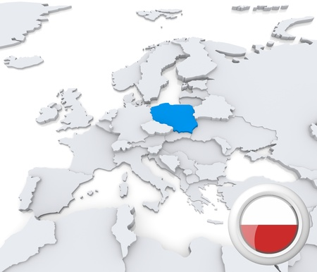 Highlighted Poland on map of europe with national flag Foto de archivo