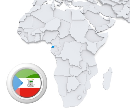 3D modeled Map of Africa with highlighted state of Equatorial Guinea with national flag photo