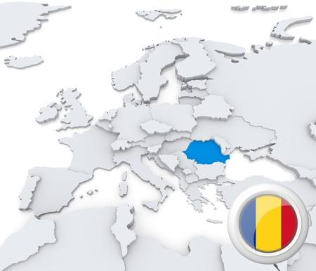 mapa europa: Destacada Rumania en el mapa de europa con la bandera nacional Foto de archivo