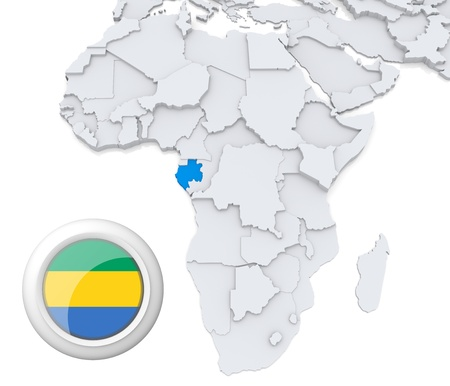3D modeled Map of Africa with highlighted state of Gabon with national flag photo