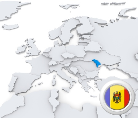 Highlighted Moldova on map of europe with national flag