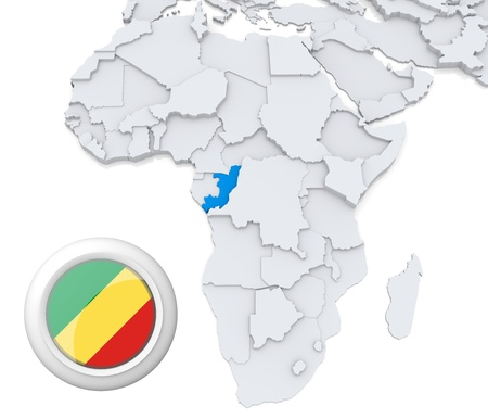 3D modeled Map of Africa with highlighted state of Congo with national flag
