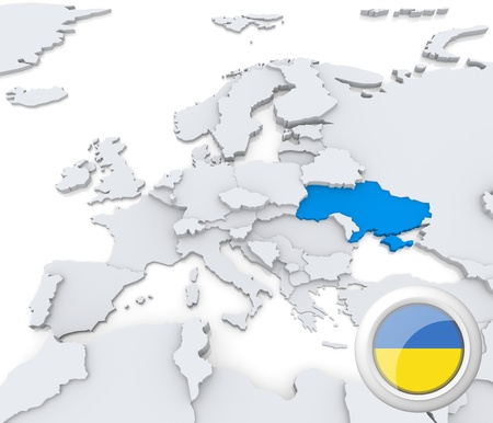 Highlighted Ukraine on map of europe with national flag