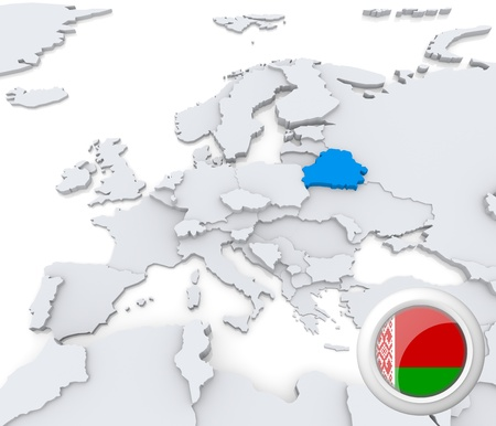 Highlighted Belarus on map of europe with national flag