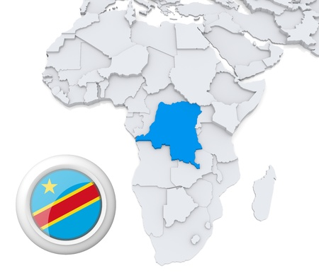 3D modeled Map of Africa with highlighted state of Democratic republic of Congo with national flag Banco de Imagens