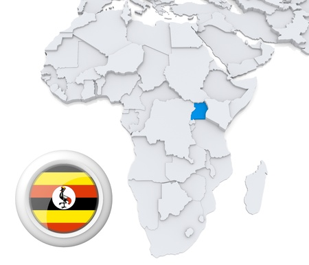 3D modeled Map of Africa with highlighted state of Uganda with national flag photo