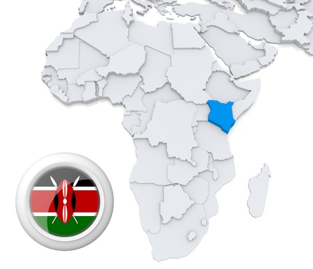 3D modeled Map of Africa with highlighted state of Kenya with national flag Foto de archivo