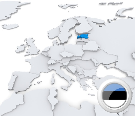 Highlighted Estonia on map of europe with national flag photo