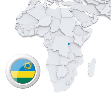 3D modeled Map of Africa with highlighted state of Rwanda with national flag
