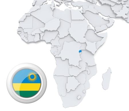 Mapa modelado 3D de África con el estado resaltado de Rwanda con la bandera nacional Foto de archivo - 21165895