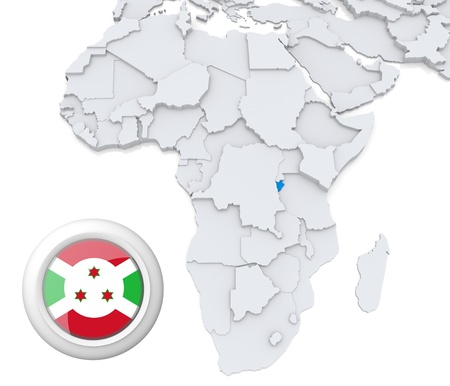 burundi: 3D modeled Map of Africa with highlighted state of Burundi with national flag