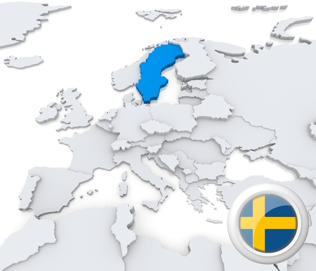 Highlighted Sweden on map of europe with national flag photo