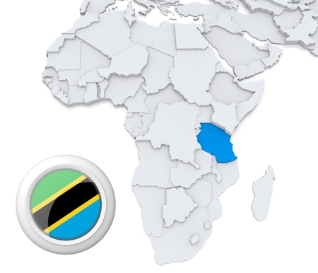 3D modeled Map of Africa with highlighted state of Tanzania with national flag