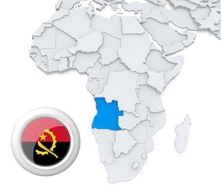 3D modeled Map of Africa with highlighted state of Angola with national flag Foto de archivo