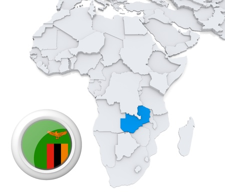 3D modeled Map of Africa with highlighted state of Zambia with national flag Stock Photo