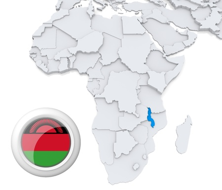 malawi flag: 3D modeled Map of Africa with highlighted state of Malawi with national flag