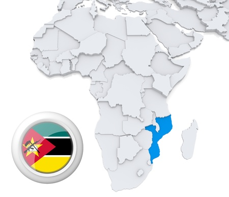 3D modeled Map of Africa with highlighted state of Mozambique with national flag
