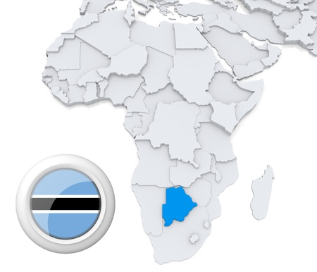 3D modeled Map of Africa with highlighted state of Botswana with national flag photo