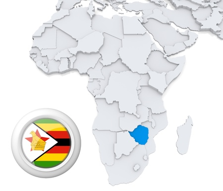 3D modeled Map of Africa with highlighted state of Zimbabwe with national flag