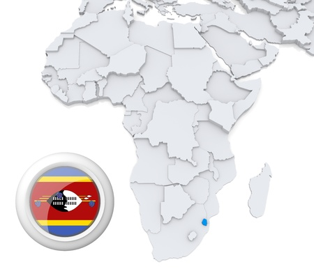 3D modeled Map of Africa with highlighted state of Swaziland with national flag