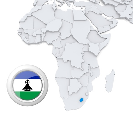 3D modeled Map of Africa with highlighted state of Lesotho with national flag