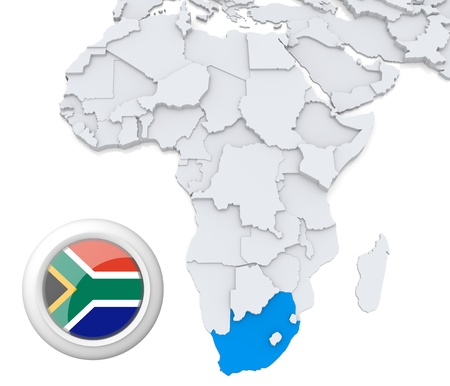 3D modeled Map of Africa with highlighted state of South Africa with national flag