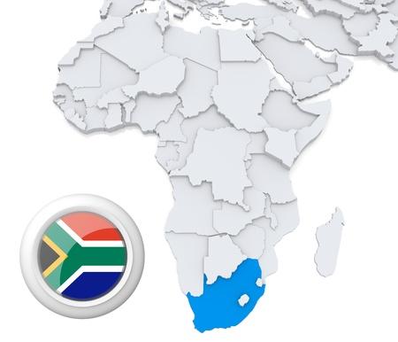 Mapa modelado 3D de África con el estado destacado de Sudáfrica con la bandera nacional Foto de archivo - 21165915