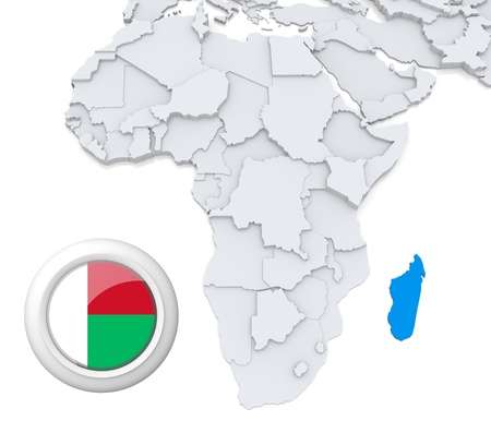 chad flag: 3D modeled Map of Africa with highlighted state of Madagascar with national flag Stock Photo