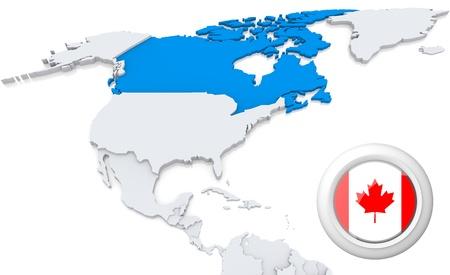 bandera panama: Destacada Canada en el mapa de Am�rica del Norte con la bandera nacional