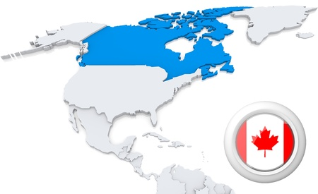 panama flag: Highlighted Canada on map of north america with national flag
