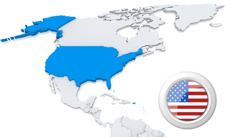 Highlighted USA on map of north america with national flag