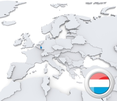 Highlighted Luxembourg on map of europe with national flag photo