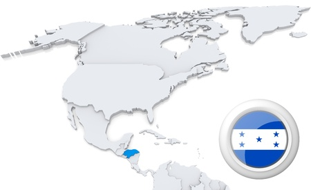 Highlighted Honduras on map of north america with national flag photo