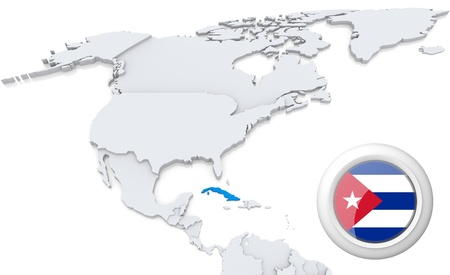Highlighted Cuba On Map Of North America With National Flag Stock - Cuba on map