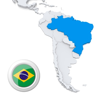 Highlighted Brazil on map of south america with national flag Foto de archivo