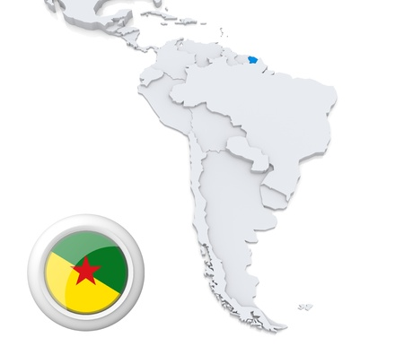 Highlighted French Guiana on map of south america with national flag photo