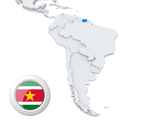 Highlighted Suriname on map of south america with national flag Stock Photo