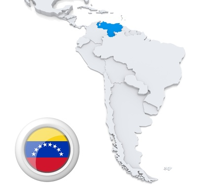 Highlighted Venezuela on map of south america with national flag