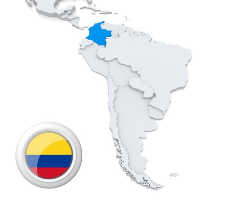 Destacadas en Colombia en el mapa de América del Sur con la bandera nacional Foto de archivo - 21434216