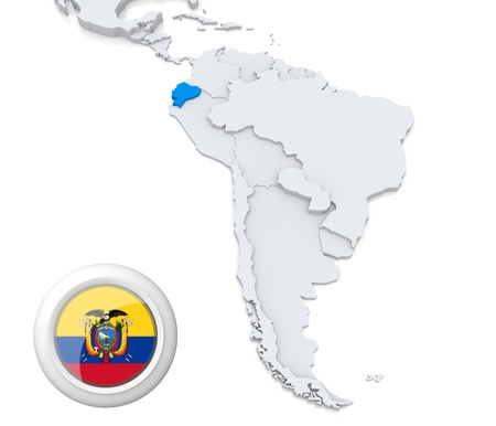 Highlighted Ecuador on map of south america with national flag