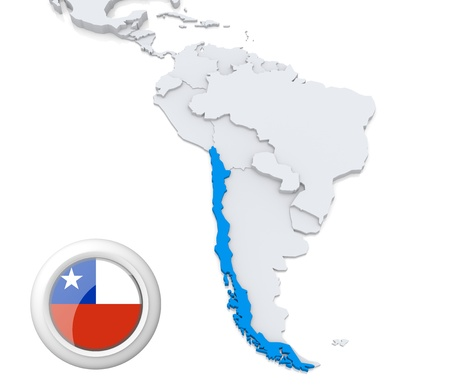 Highlighted Chile on map of south america with national flag