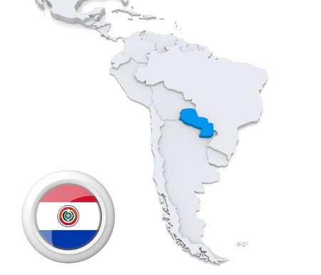 Highlighted Paraguay on map of south america with national flag photo