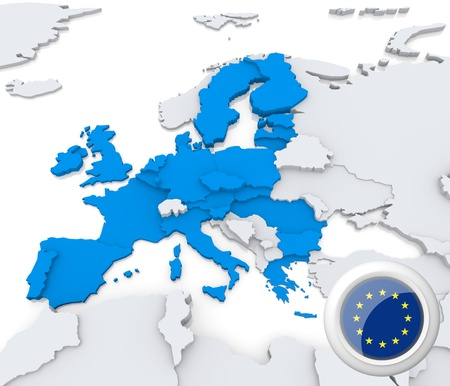Highlighted European union on map of europe with national flag photo