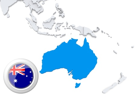 Highlighted Australia on map of Australia and oceania with national flag Foto de archivo