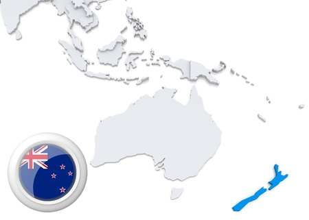 Highlighted New Zealand on map of Australia and oceania with national flag