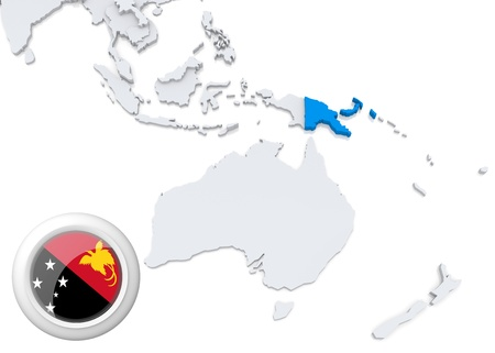 Highlighted Papua new guinea on map of Australia and oceania with national flag