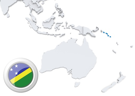 Highlighted Solomon Islands on map of Australia and oceania with national flag