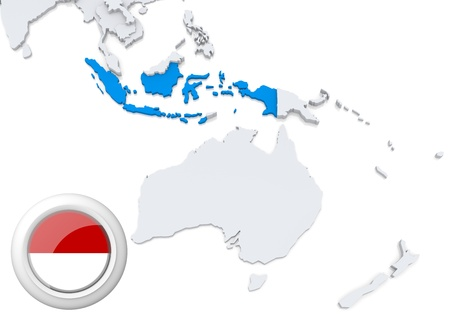 oceania: Highlighted Indonesia on map of Australia and oceania with national flag