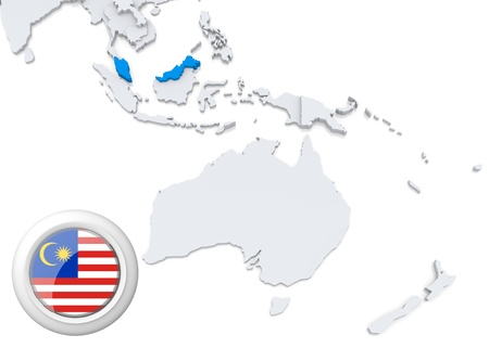Highlighted Malaysia on map of Australia and oceania with national flag Stock Photo