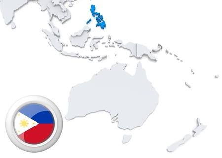 Destacada Filipinas el mapa de Australia y Oceanía con la bandera nacional Foto de archivo - 21826528